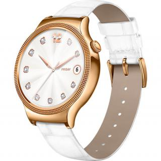 Smartwatch 44MM Carcasa Otel Inoxidabil Auriu Si Curea Piele Alba Swarovski Zircon