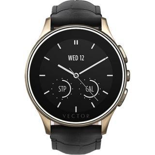Smartwatch Luna Carcasa Otel Inoxidabil Auriu Curea Piele Croco Neagra Slim