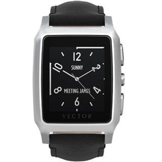 Smartwatch Meridian Carcasa Otel Inoxidabil Argintiu Curea Piele Neagra Slim