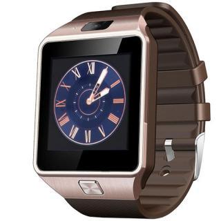 Smartwatch Rush Auriu Si Curea Silicon Maro Cu Sim