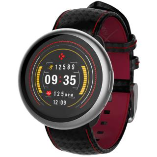 Smartwatch ZeRound 2 HR Premium Argintiu Si Curea Carbon Neagra