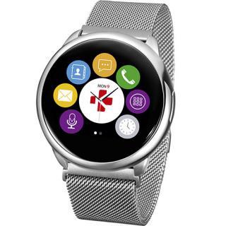 Smartwatch ZeRound Premium Curea Metal Argintiu + Curea Silicon Negru