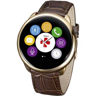 Smartwatch ZeRound Premium Curea Piele + Curea Silicon Maro