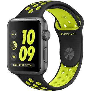 Watch 2 Nike Plus Aluminiu Gri 42MM Si Curea Silicon Negru Verde