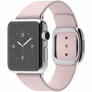 Watch 38 MM Carcasa din Otel Inoxidabil si Curea Modern Roz M Pentru toate telefoanele iPhone