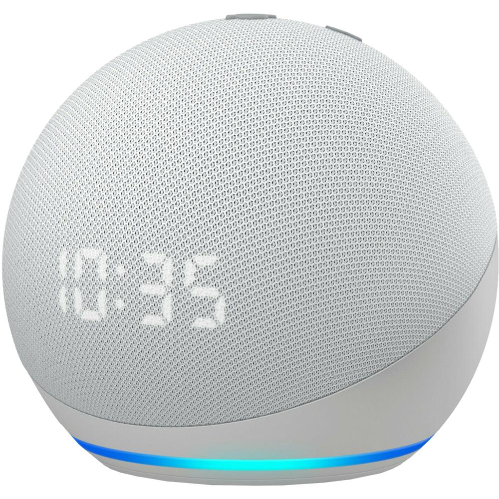 Boxa Portabila Echo Dot 4 Cu Ceas si Asistent Personal Alexa Glacier Alb