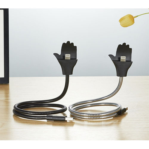 Cablu Date Creative Hand Lightning La USB PVC Negru Cu Suport Telefon