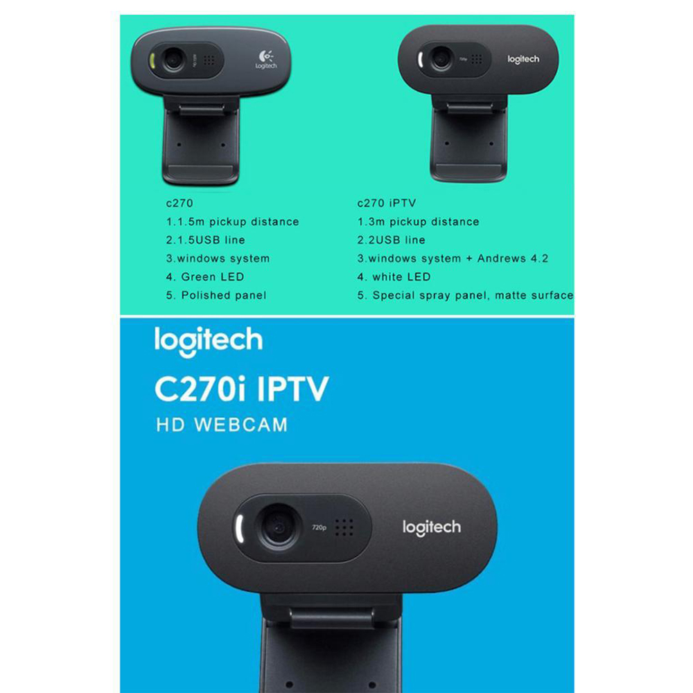 Camera Web C270I HD IPTV, Microfon Incorporat, Neagra
