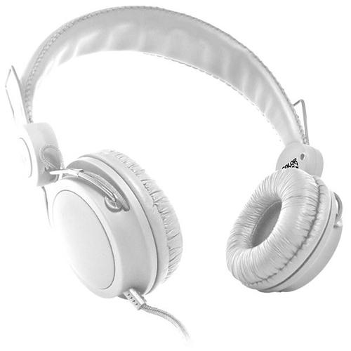 Casti cu fir delta stereo over ear cu microfon alb