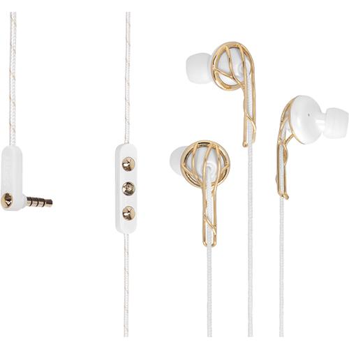 Casti Cu Fir In Ear Ella B Gold/White Cu Microfon Alb