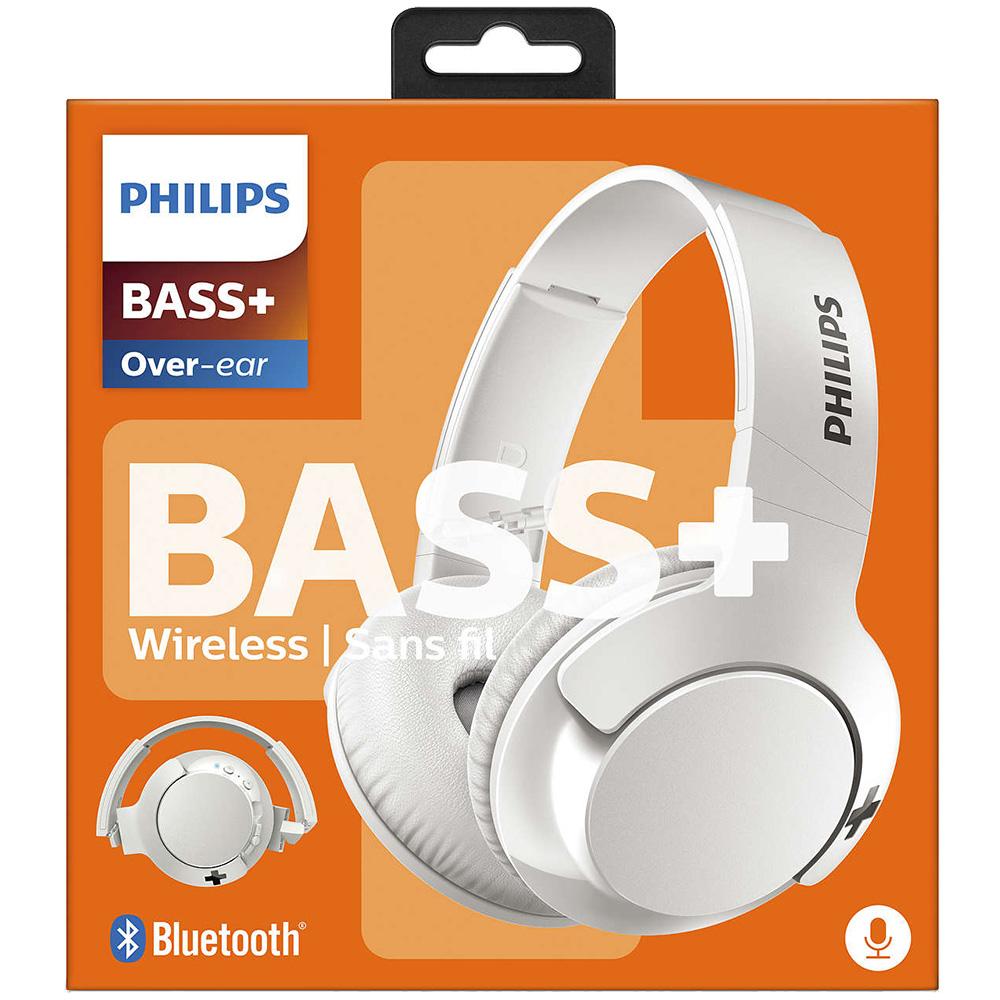 Casti Wireless   Bass + Over Ear Alb