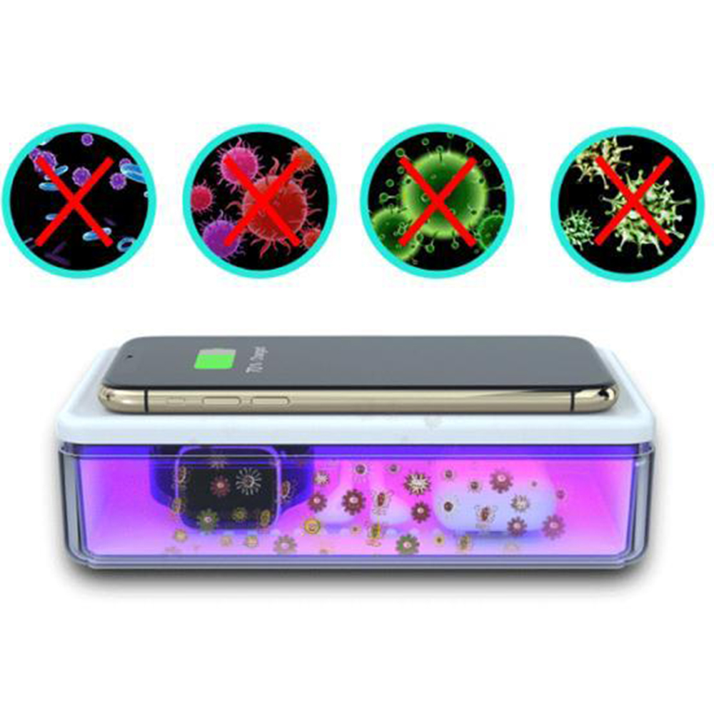 Dispozitiv Cutie Cu Lampa Bactericida Virucida UVC + Incarcator Wireless 15W