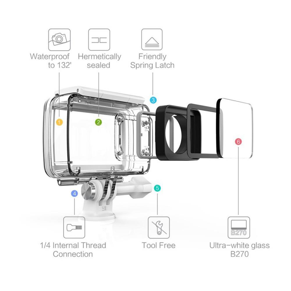 Husa 360 Waterproof Pentru Camera YI 4K Alb