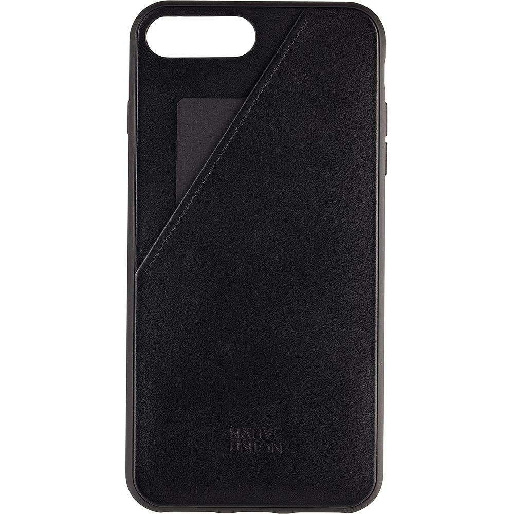 Husa Capac Spate Clic Cu Slot Pentru Card Negru Apple iPhone 7 Plus, iPhone 8 Plus