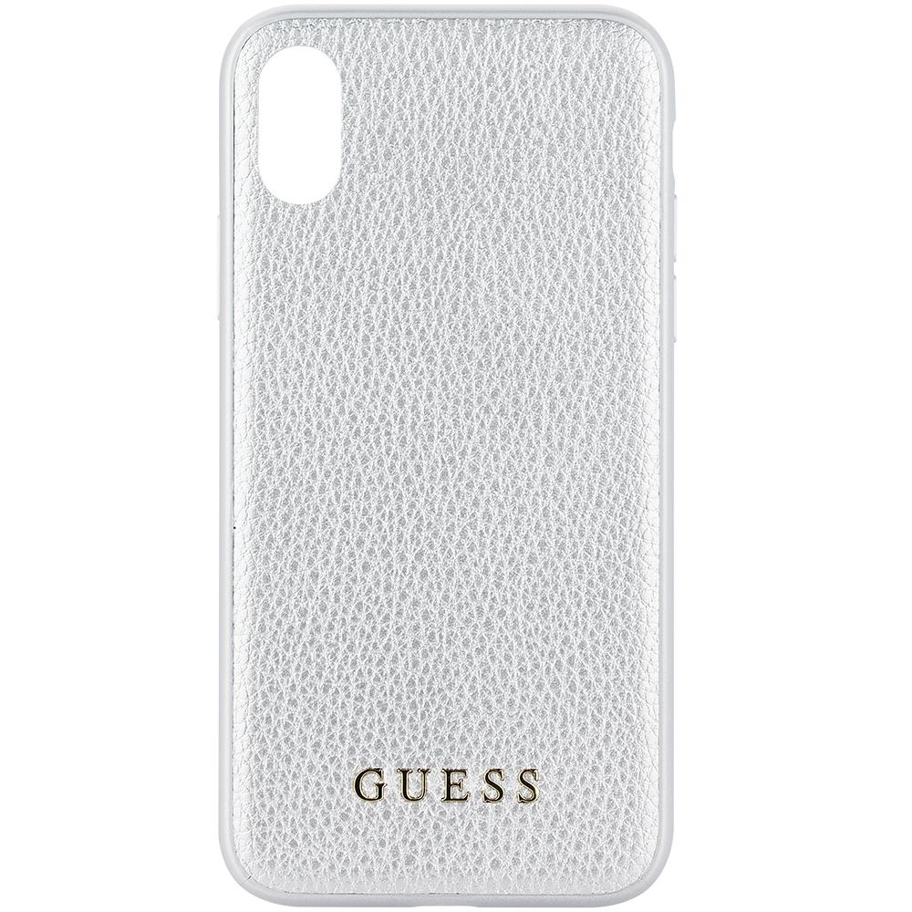 Husa Capac Spate Iridescent Piele Argintiu APPLE iPhone X, iPhone Xs