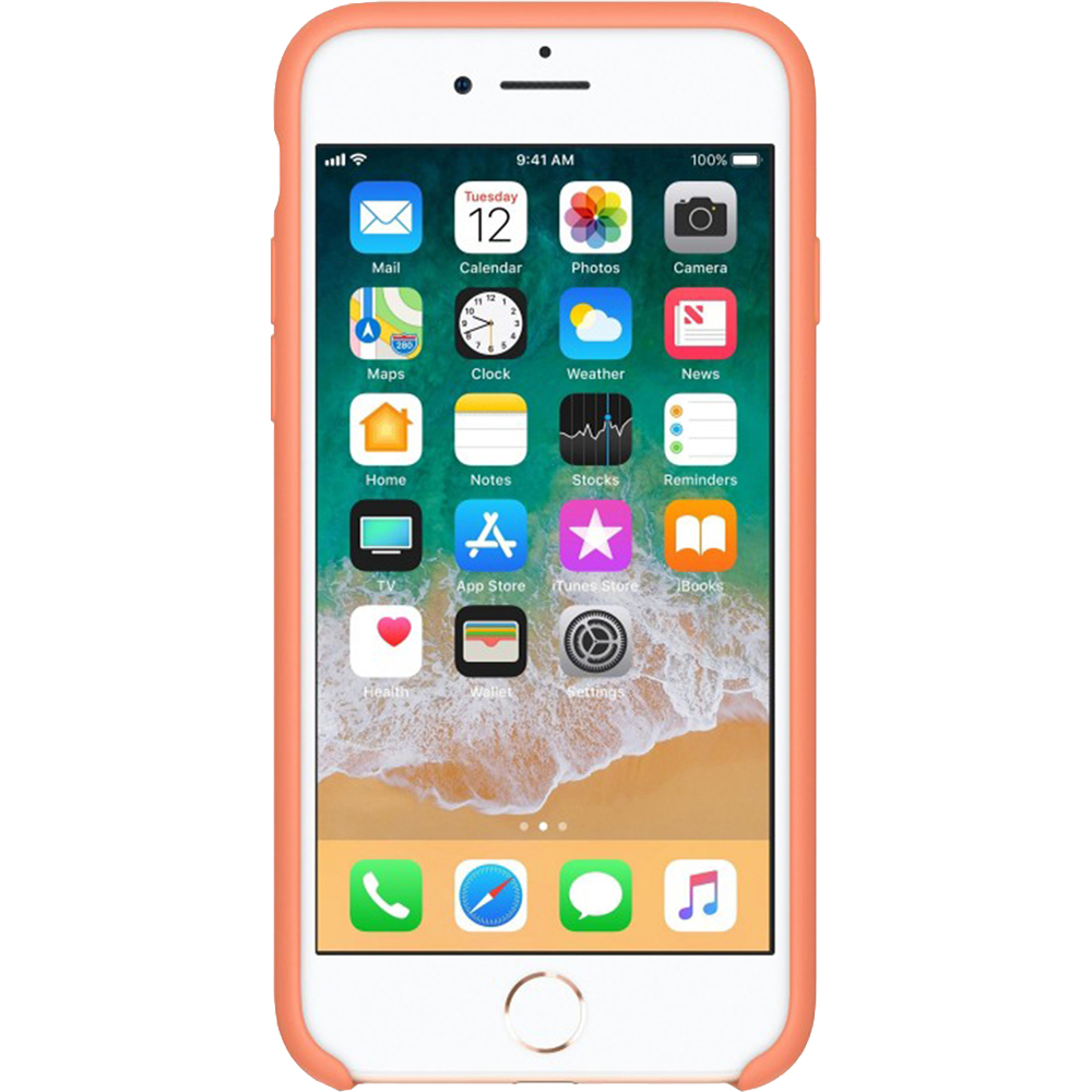 Husa originala din Silicon Portocaliu Peach pentru APPLE iPhone 7, iPhone 8, iPhone SE 2020