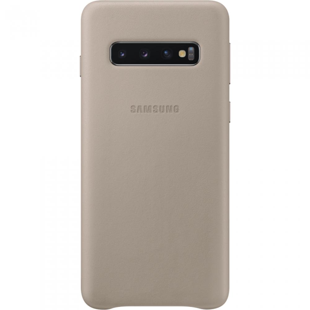 Husa Capac Spate Piele Gri SAMSUNG Galaxy S10