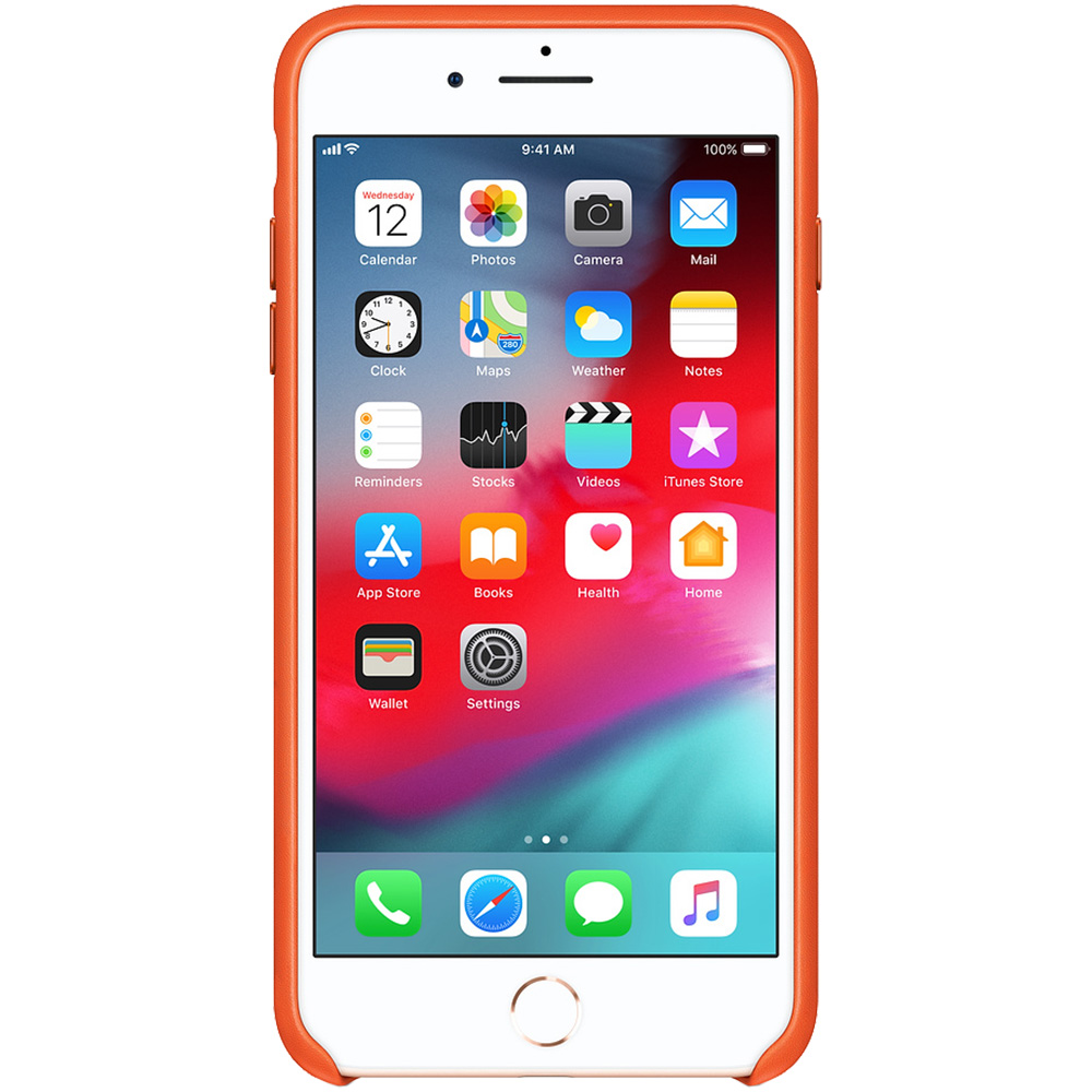 Husa Capac Spate Piele Portocaliu Apple iPhone 7 Plus, iPhone 8 Plus