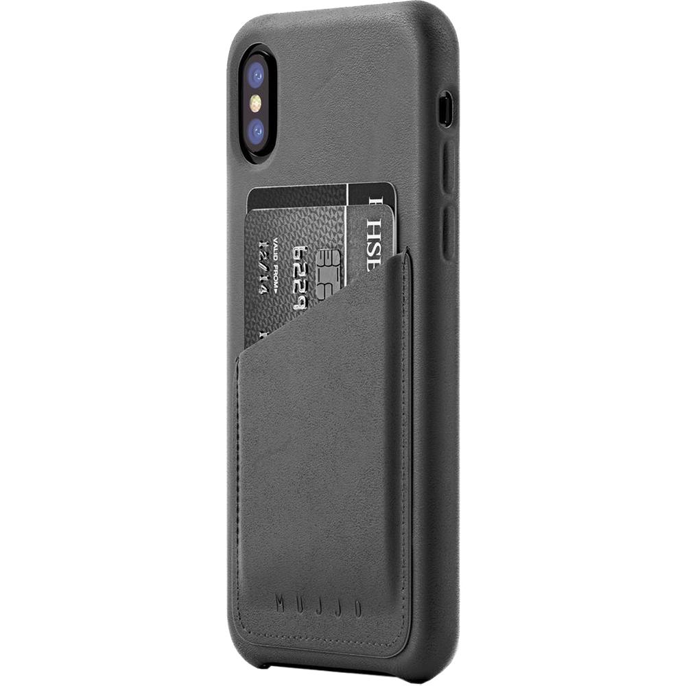 Husa Capac Spate Piele Wallet Gri APPLE iPhone X