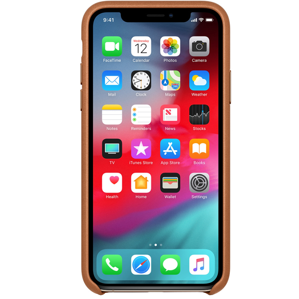 Husa originala din Piele Saddle Maro pentru Apple iPhone Xr