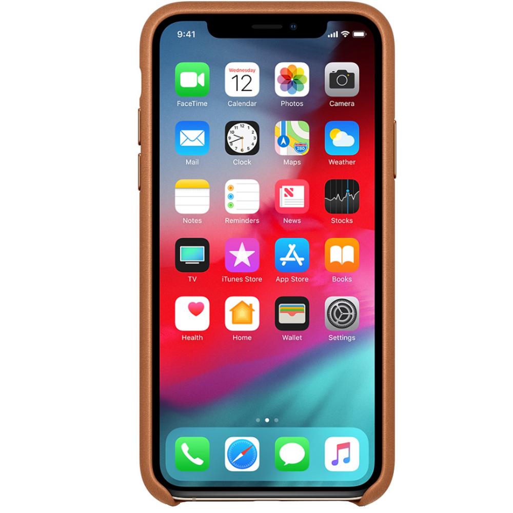 Husa Capac Spate Saddle Piele Maro APPLE iPhone Xs