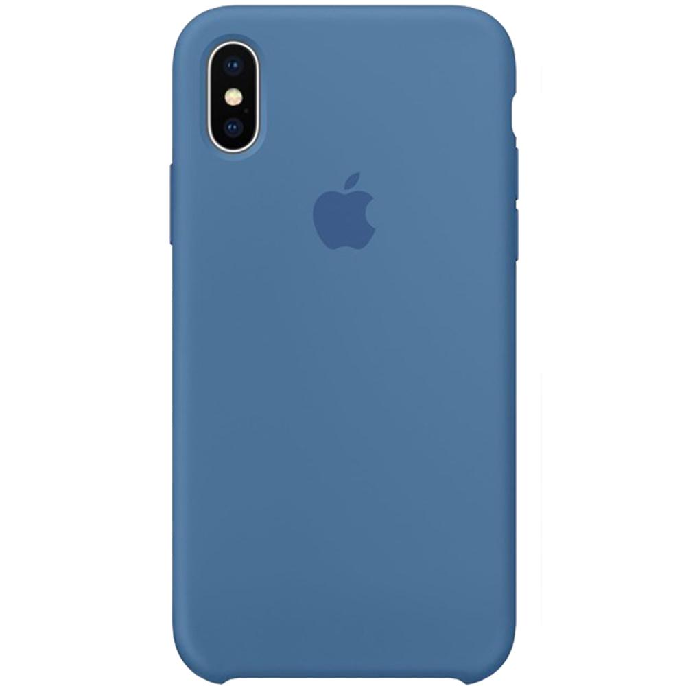Husa originala din Silicon Denim Albastru pentru Apple iPhone Xs
