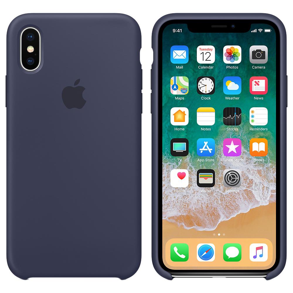 Husa originala din Silicon Midnight Albastru pentru APPLE iPhone X si iPhone Xs