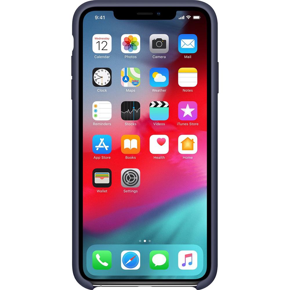 Husa originala din Silicon Midnight Albastru pentru APPLE iPhone Xs Max