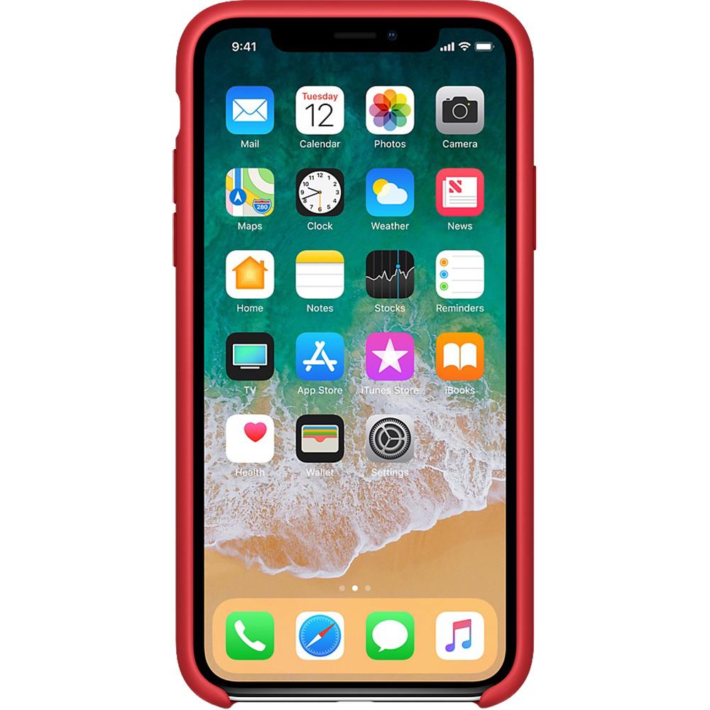 Husa originala din Silicon Rosu pentru APPLE iPhone X