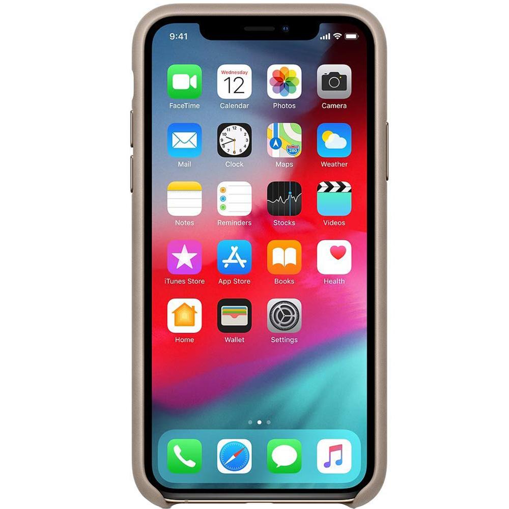 Husa originala din Piele Gri Taupe pentru APPLE iPhone X