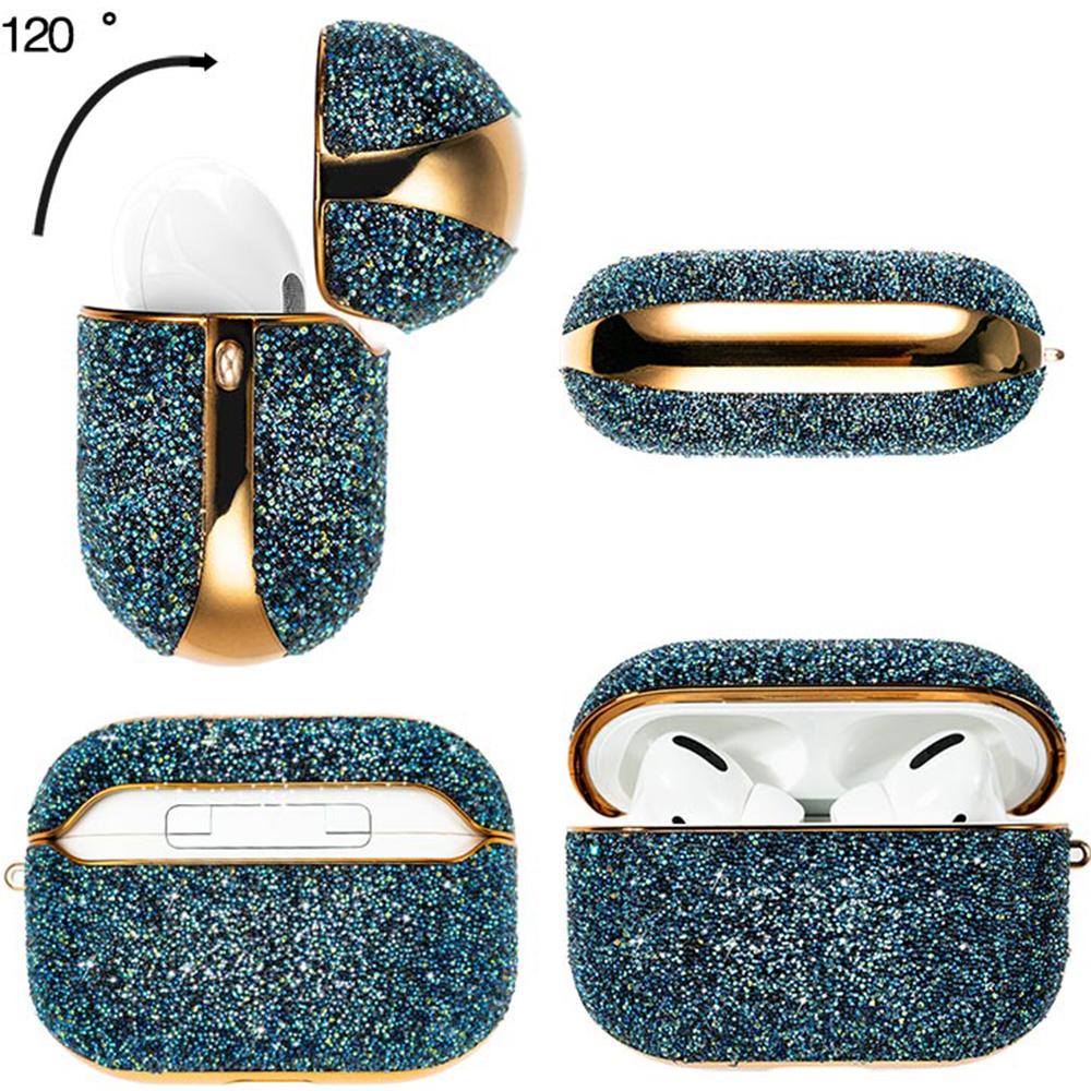 Husa De Protectie Crystal Fabric shiny glitter Pentru Airpods Pro Albastru