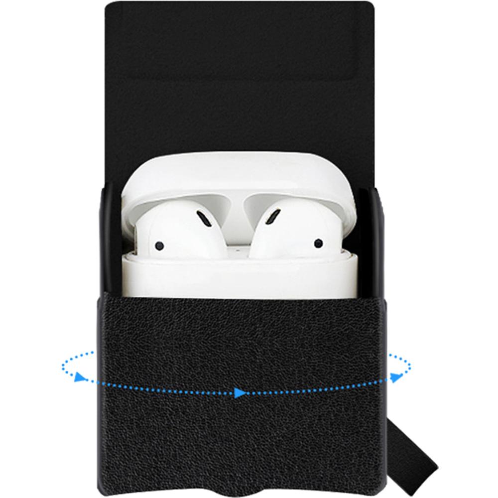 Husa Piele Cu Incarcare Wireless Pentru Apple AirPods Negru