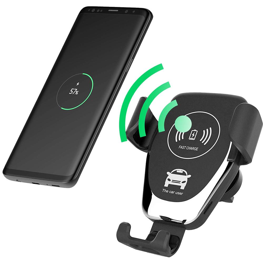 Incarcator Auto Wireless Cu Incarcare Rapida Qi Fast Charger, 5V/2A, 9V/1.67A, 10W Negru