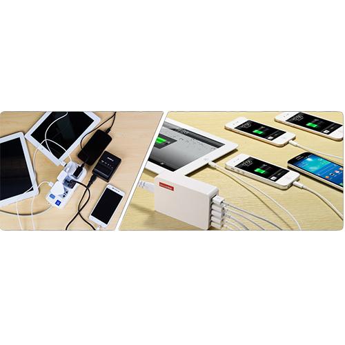 Incarcator Priza Powa Hub 25W cu 5 Porturi USB Alb APPLE iPhone 5s, Apple iPhone 6s