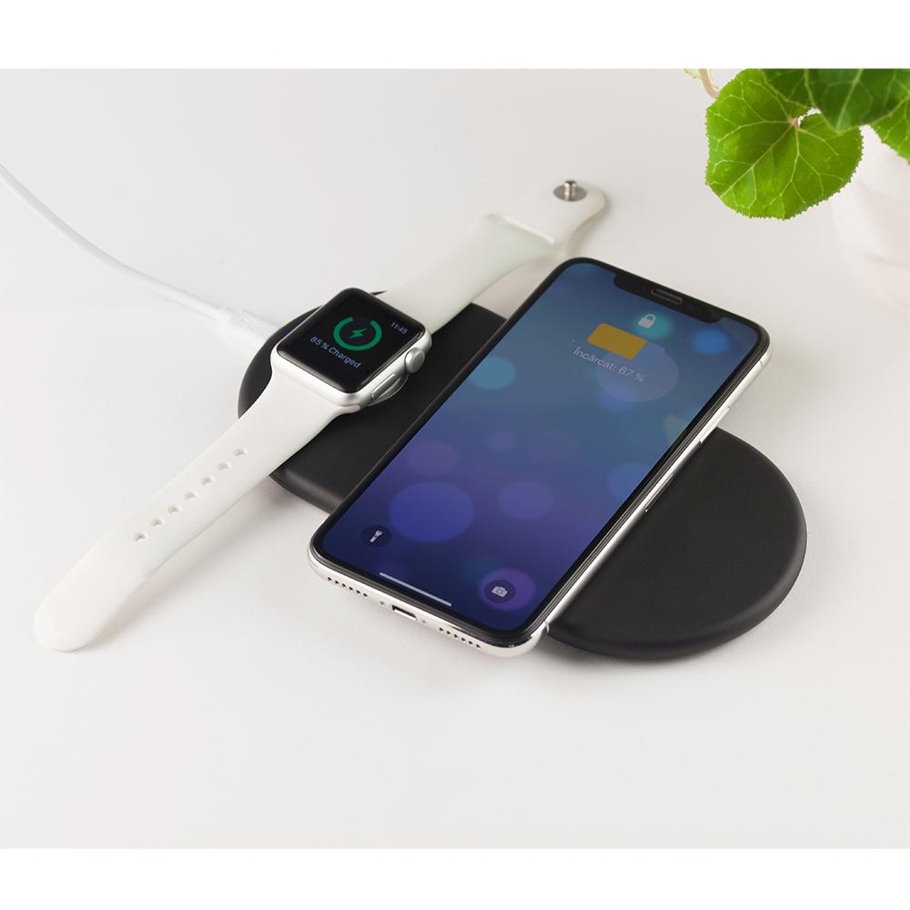 Incarcator retea rapid Wireless cu 2 locuri incarcare simultan, smartphone si Apple Watch, cu output 15W, culoare negru