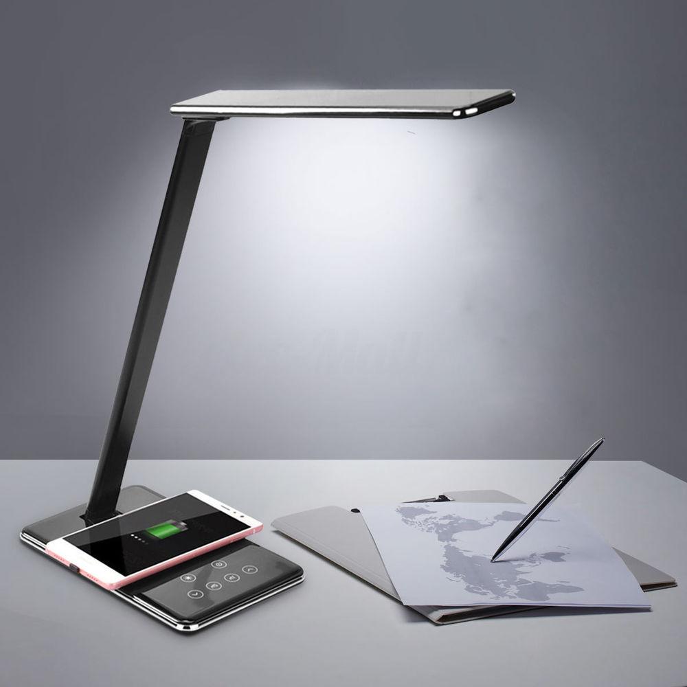 Lampa De Birou Cu 4 Culori Si Incarcator Wireless Negru