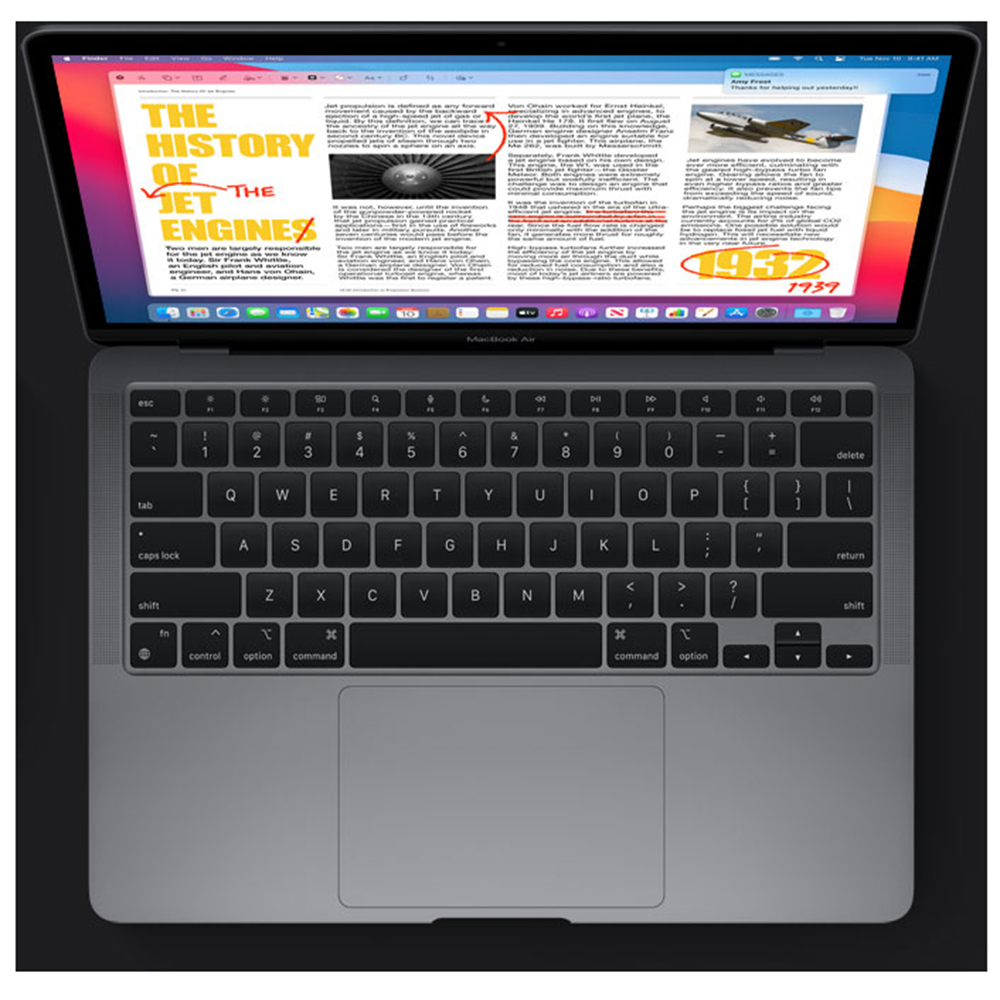 Laptop Macbook Air 13'' M1 2020, MGN63, 256GB SSD, 8GB RAM, CPU 8-core, Touch ID sensor, DisplayPort, Thunderbolt 3, Tastatura layout INT, Space Gray (Gri)