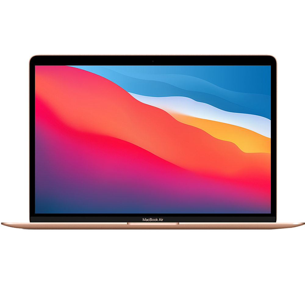 Laptop Macbook Air 13'' M1 2020, MGNE3, 512GB SSD, 8GB RAM, CPU 8-core, Touch ID sensor, DisplayPort, Thunderbolt 3, Tastatura layout INT, Gold (Auriu)