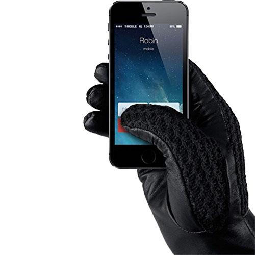 Manusi Touchscreen Crosetate Cu Insertii Piele Marimea S