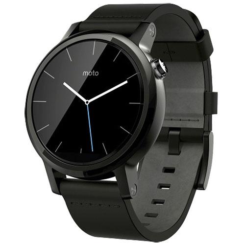 Smartwatch Moto 360 42MM 2nd Gen Men's Otel Inoxidabil Negru Si Curea Piele Neagra