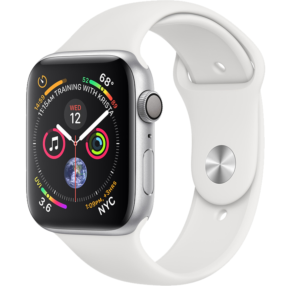 Smartwatch Watch 4 GPS 40MM Aluminiu Argintiu Si Curea Sport Alb