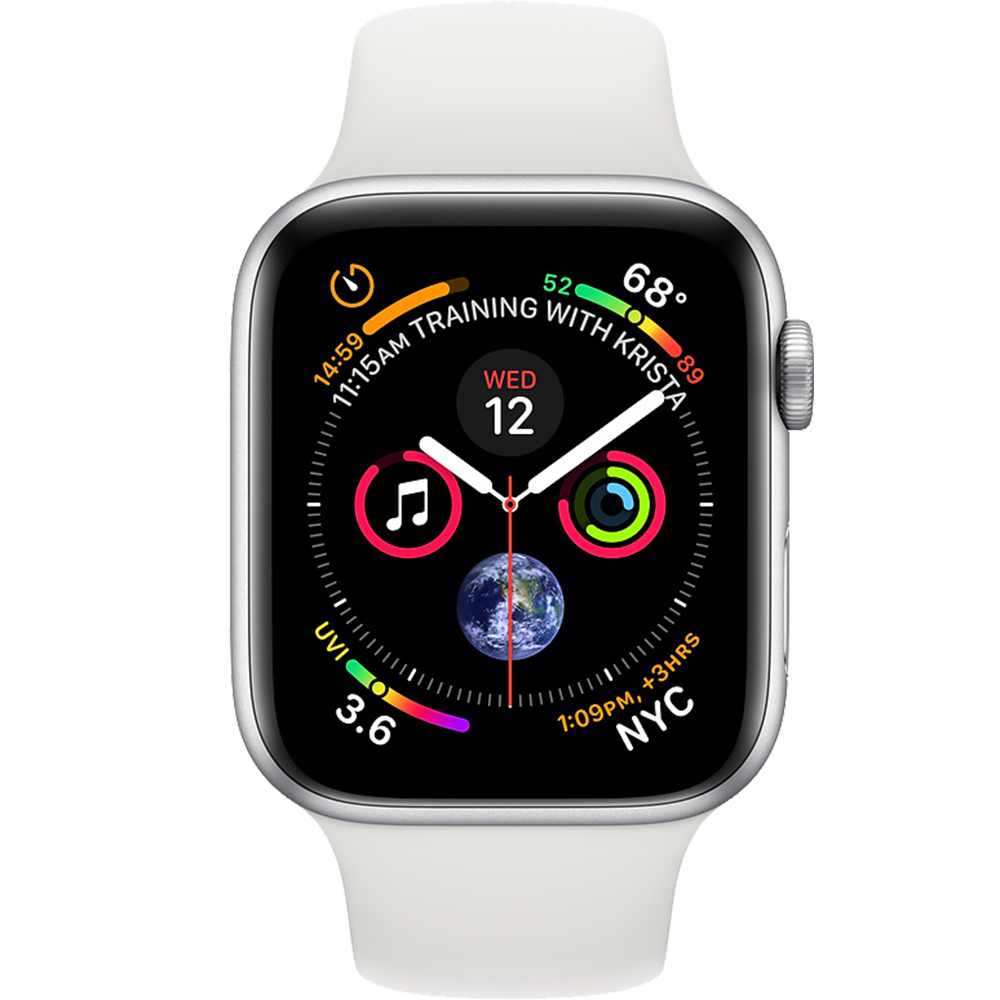 Smartwatch Watch 4 GPS 44MM Aluminiu Argintiu Si Curea Sport Alb