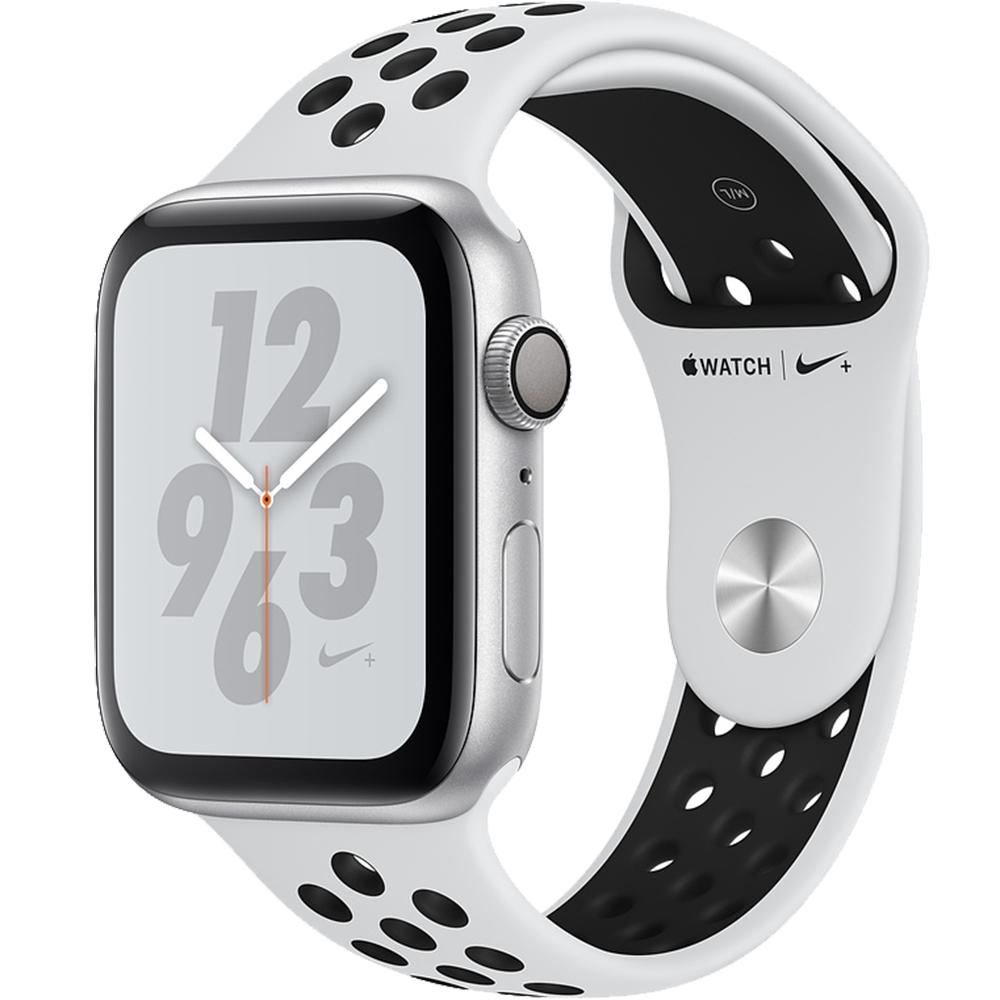 Smartwatch Watch 4 Nike Plus GPS 44MM Aluminiu Argintiu Si Curea Sport Platinum Negru