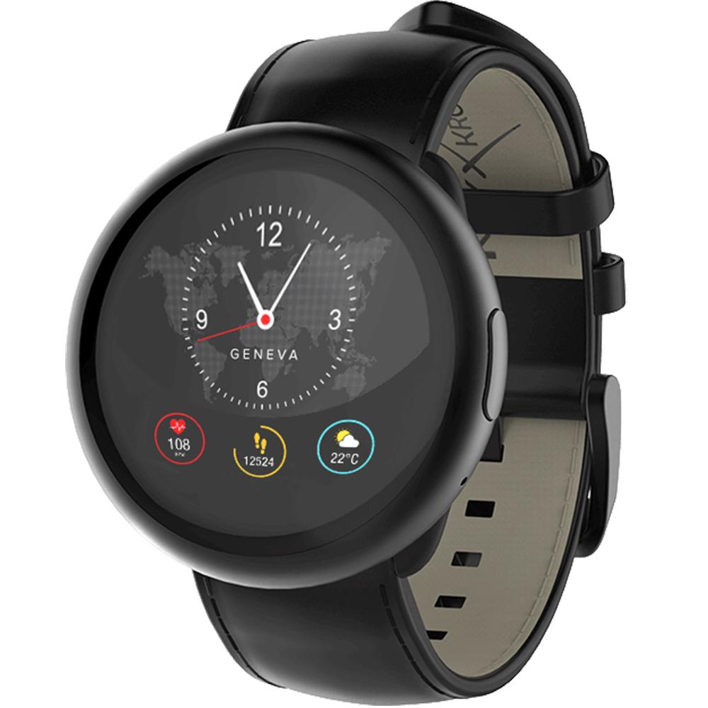 Smartwatch ZeRound 2 HR Premium Negru Si Curea Piele Neagra