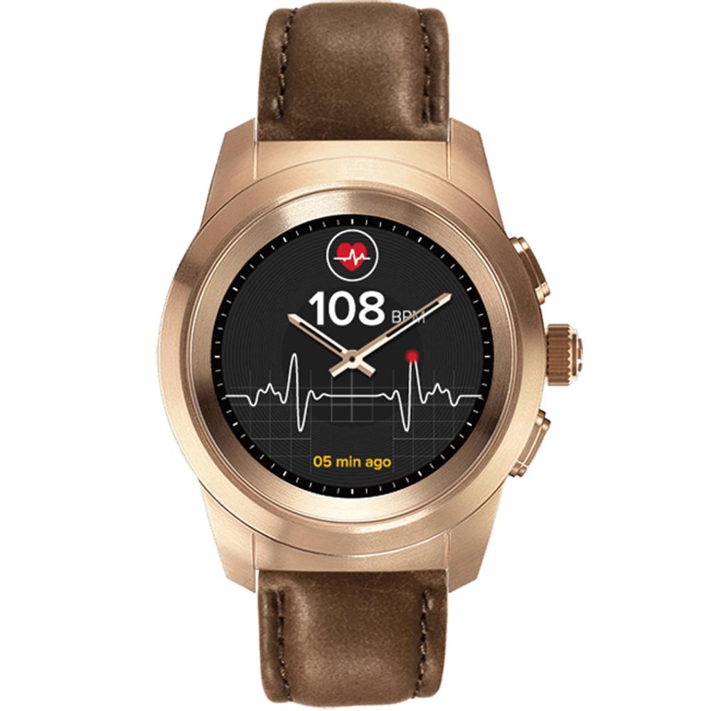Smartwatch ZeTime Premium 44MM Auriu Brushed Si Curea Piele Vintage Maro