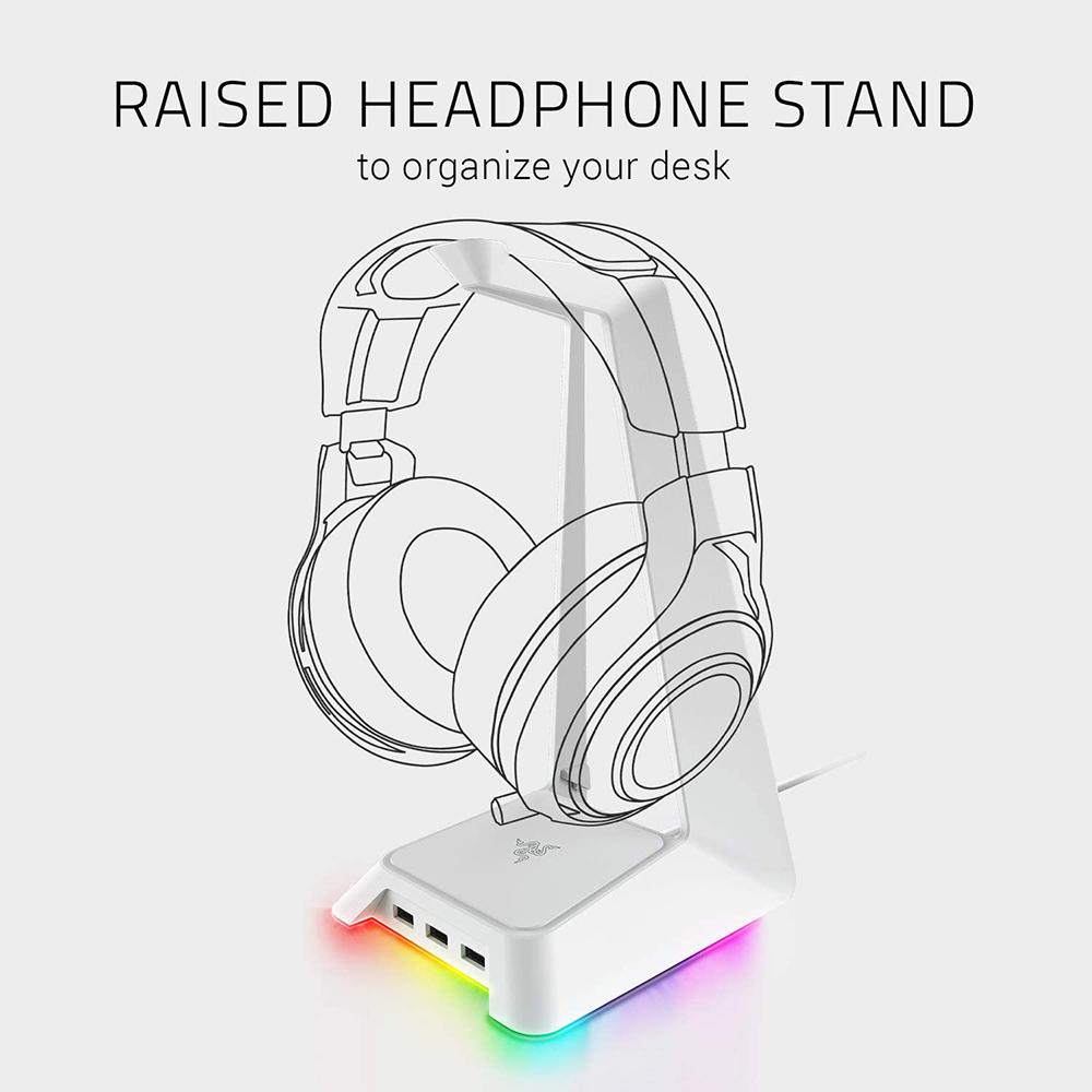 Stand Casti Cu Hub USB Base Station Chroma Headphone Alb