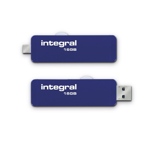 Stick USB 16GB Slide OTG Micro USB to USB 3.0 Albastru