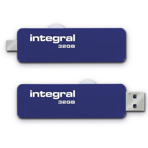 Stick USB 32GB Slide OTG Micro USB to USB 3.0 Albastru