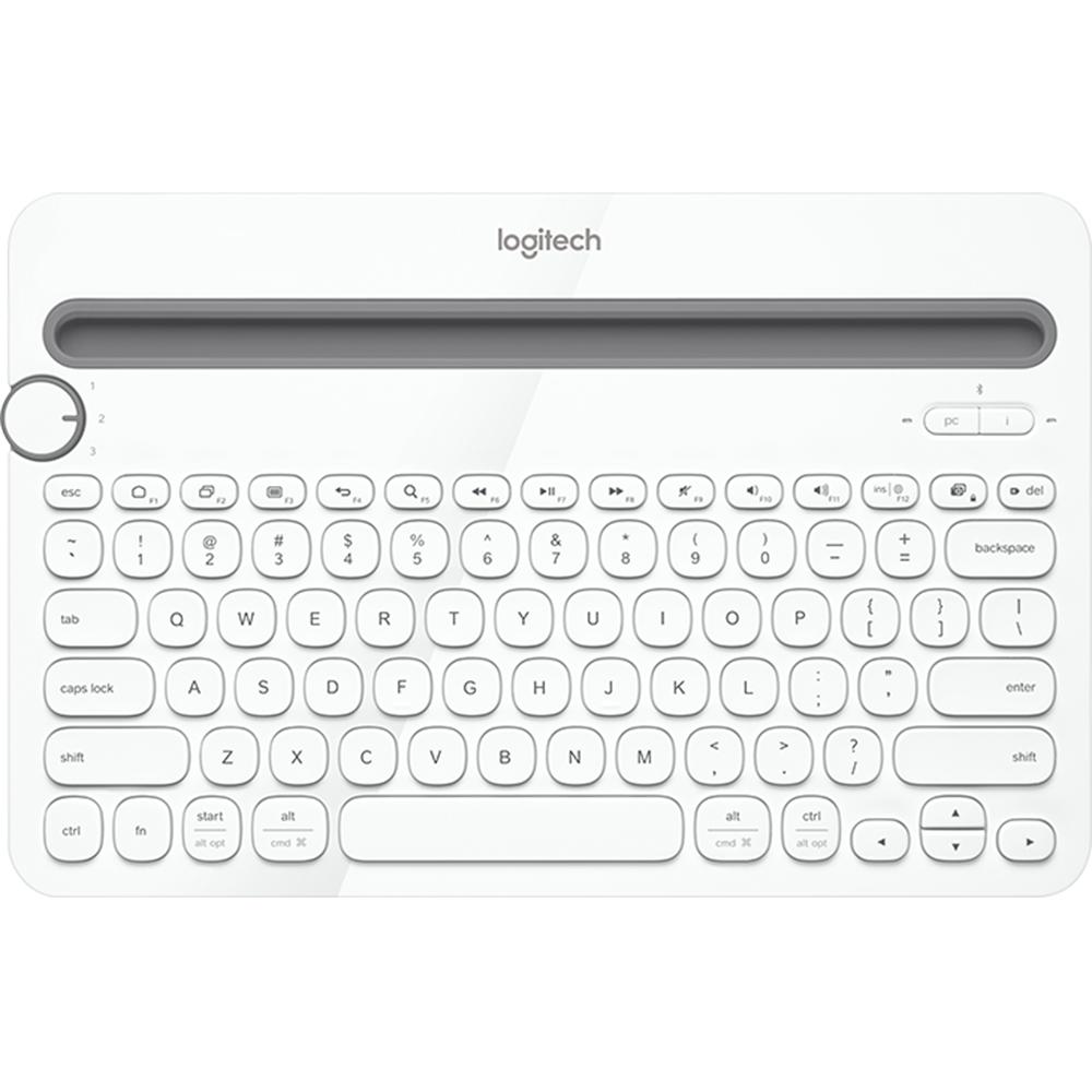 Tastatura Wireless K480 Alb, Bluetooth, Multi-Device, Easy-Switch, Full Size, Flow Technology, Qwerty Layout, Compatibila Laptop, Tableta, Smartphone