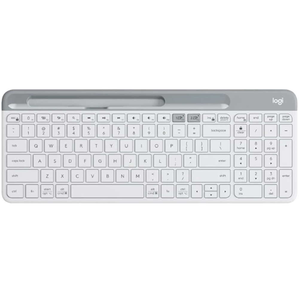 Tastatura Wireless K580 Slim Multi-Device Keyboard, Alb, Qwerty Layout, Bluetooth / USB Receiver, Easy Switch, Compatibila Desktop, Tableta, Smartphone, Laptop